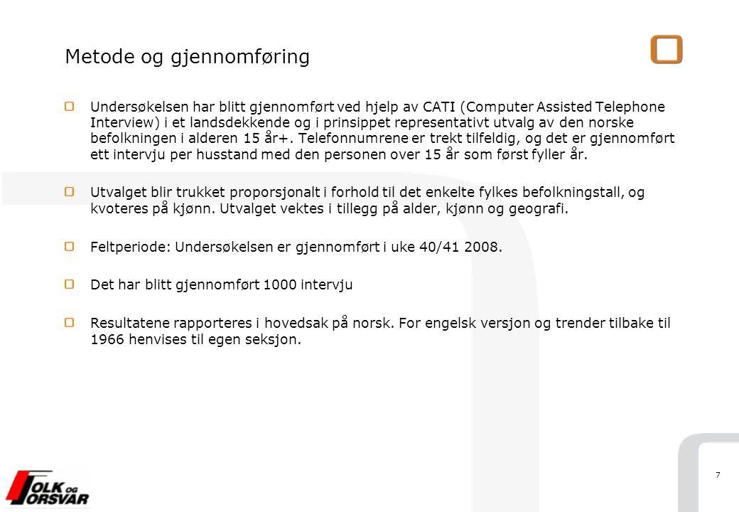7 Metode og gjennomføring Undersøkelsen har blitt gjennomført ved hjelp av CATI (Computer Assisted Telephone Interview) i et landsdekkende og i prinsippet representativt utvalg av den norske befolkningen i alderen 15 år+.