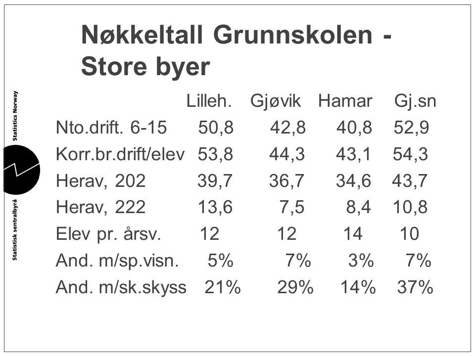 Nøkkeltall Grunnskolen - Store byer Lilleh. Gjøvik Hamar Gj.sn Nto.drift. 6-15 50,8 42,8 40,8 52,9 Korr.br.drift/elev 53,8 44,3 43,1 54,3 Herav, 202 3