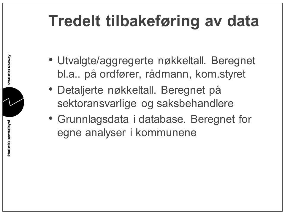 Tredelt tilbakeføring av data • Utvalgte/aggregerte nøkkeltall. Beregnet bl.a.. på ordfører, rådmann, kom.styret • Detaljerte nøkkeltall. Beregnet på