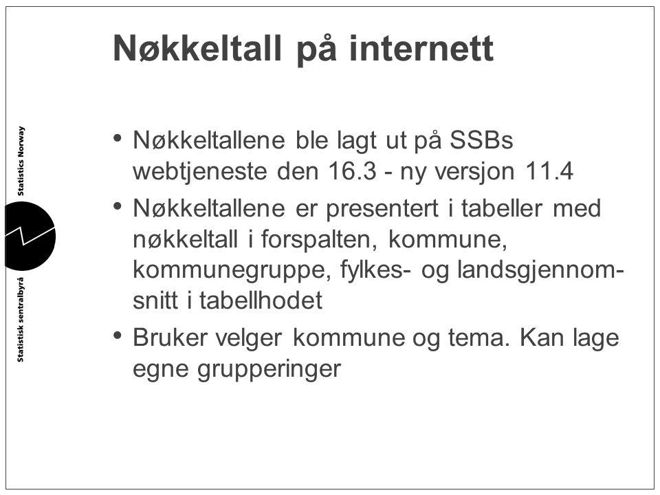 Nøkkeltall på internett • Nøkkeltallene ble lagt ut på SSBs webtjeneste den 16.3 - ny versjon 11.4 • Nøkkeltallene er presentert i tabeller med nøkkel