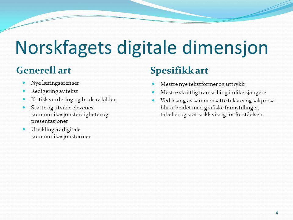 Norskfagets digitale dimensjon Generell art Spesifikk art  Nye læringsarenaer  Redigering av tekst  Kritisk vurdering og bruk av kilder  Støtte og