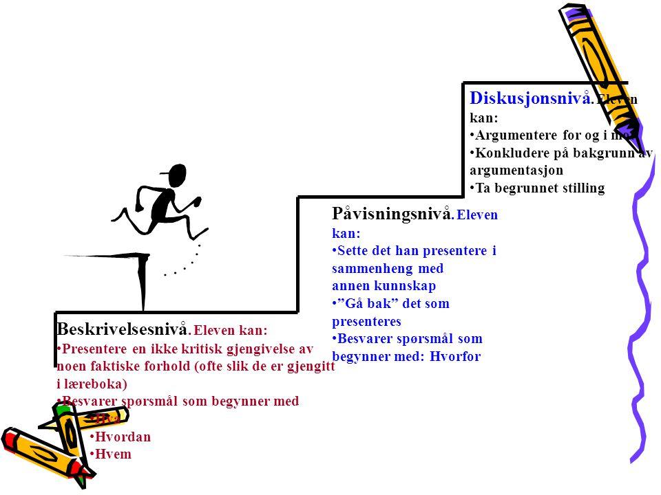 Beskrivelsesnivå. Eleven kan: •Presentere en ikke kritisk gjengivelse av noen faktiske forhold (ofte slik de er gjengitt i læreboka) •Besvarer spørsmå