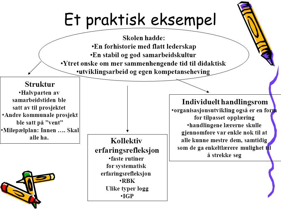 Et praktisk eksempel Skolen hadde: •En forhistorie med flatt lederskap •En stabil og god samarbeidskultur •Ytret ønske om mer sammenhengende tid til d