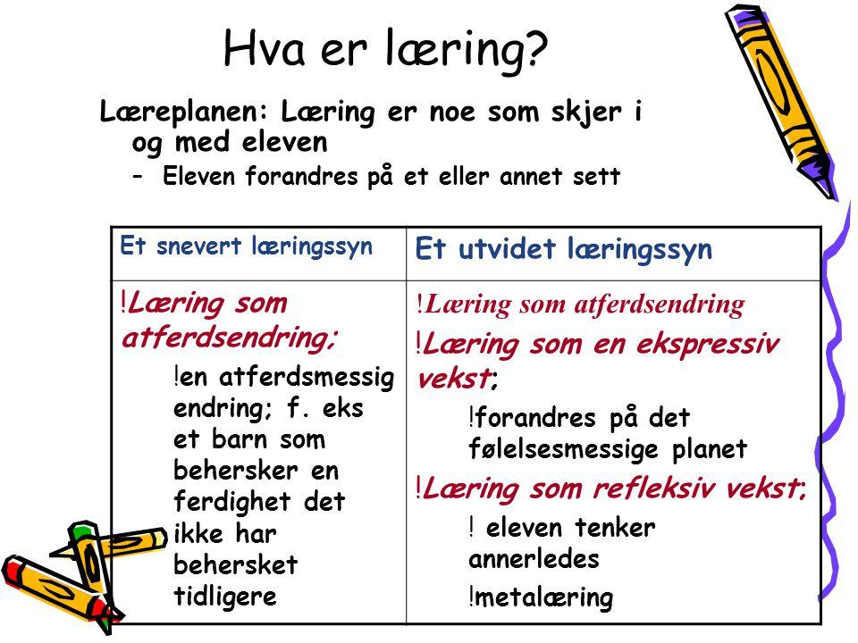 Hva er læring? Læreplanen: Læring er noe som skjer i og med eleven –Eleven forandres på et eller annet sett Et snevert læringssyn Et utvidet læringssy