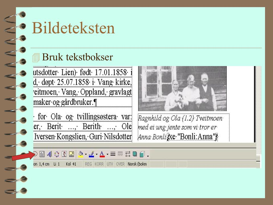 Samme skrifttyper 4 Den vanlige teksten 4 Overskriftene 4 Bildetekster 4 tabeller Bruker du innebygde overskrifter i tekstbehandlingen så får du autom