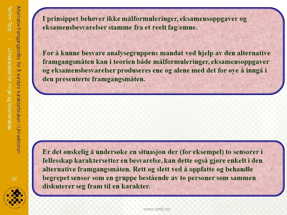 Torfinn Torp - Universitetet for miljø- og biovitenskap www.umb.no Alternativ framgangsmåte for å vurdere karakterbruken i UH-sektoren 12 I prinsippet behøver ikke målformuleringer, eksamensoppgaver og eksamensbesvarelser stamme fra et reelt fag/emne.