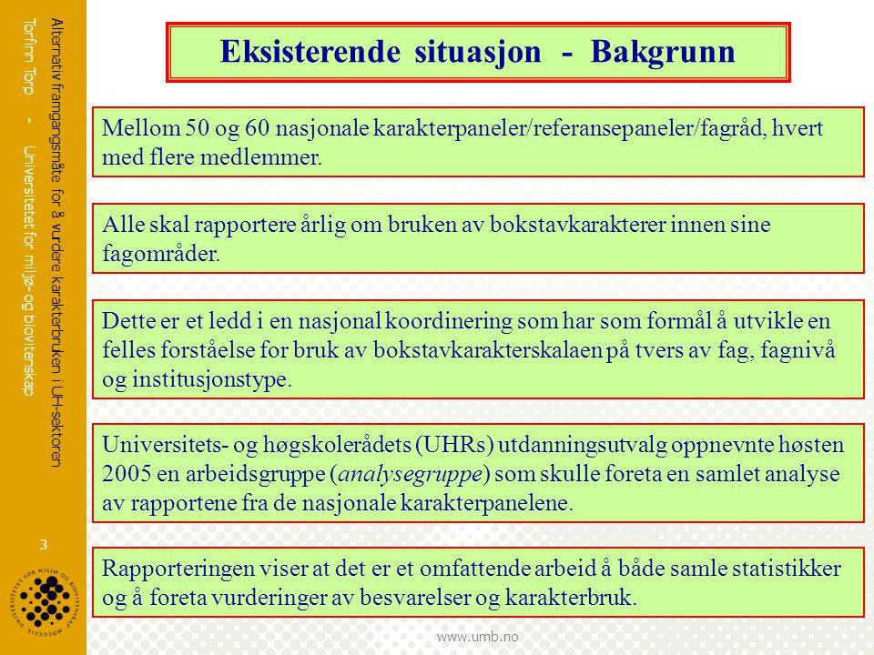 Torfinn Torp - Universitetet for miljø- og biovitenskap www.umb.no Alternativ framgangsmåte for å vurdere karakterbruken i UH-sektoren 3 Eksisterende situasjon - Bakgrunn Mellom 50 og 60 nasjonale karakterpaneler/referansepaneler/fagråd, hvert med flere medlemmer.