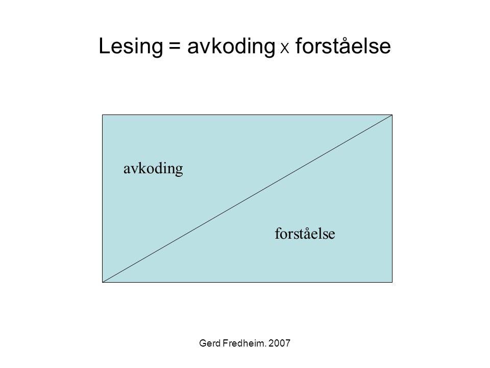 Gerd Fredheim. 2007 Lesing = avkoding X forståelse forståelse avkoding forståelse