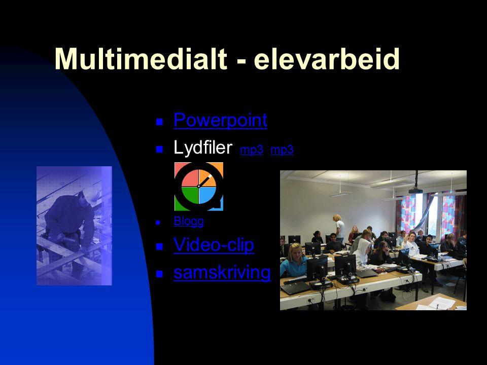 Multimedialt - elevarbeid  Powerpoint Powerpoint  Lydfiler mp3 mp3 mp3  Blogg Blogg  Video-clip Video-clip  samskriving samskriving