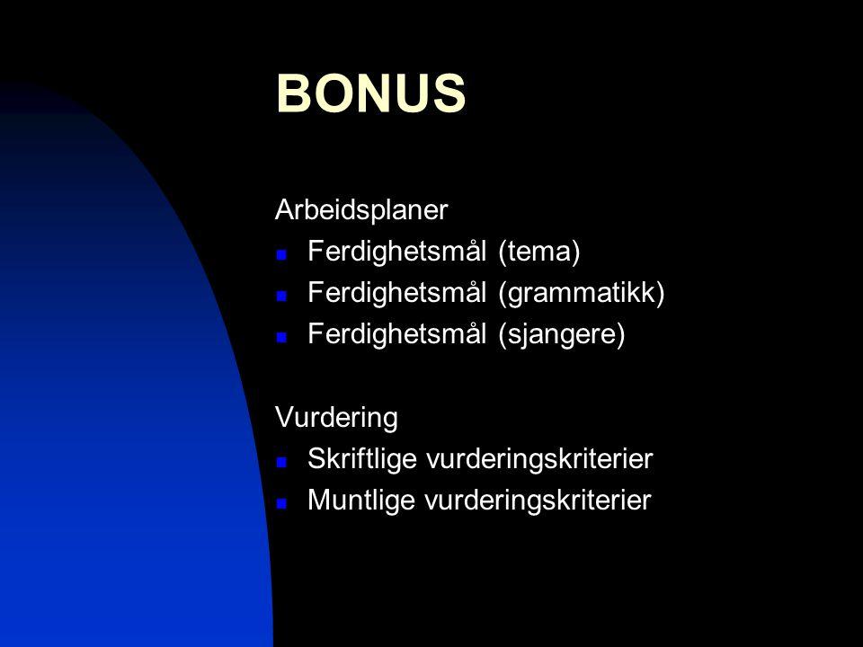 BONUS Arbeidsplaner  Ferdighetsmål (tema)  Ferdighetsmål (grammatikk)  Ferdighetsmål (sjangere) Vurdering  Skriftlige vurderingskriterier  Muntli