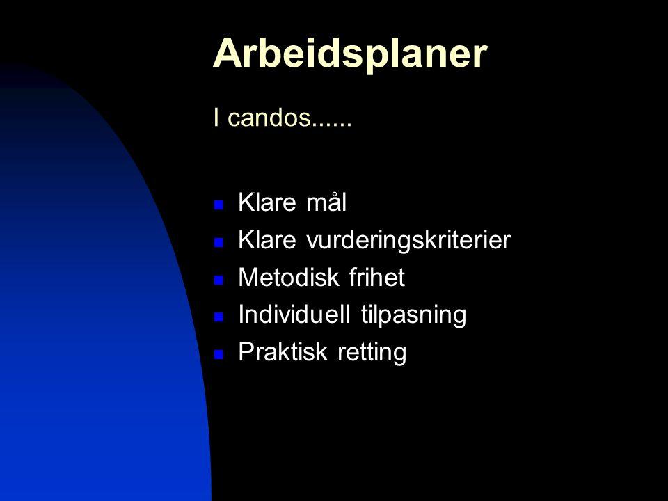Arbeidsplaner I candos......  Klare mål  Klare vurderingskriterier  Metodisk frihet  Individuell tilpasning  Praktisk retting