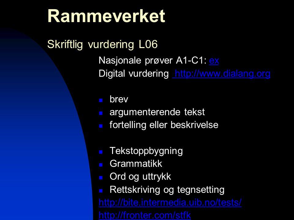 Rammeverket Skriftlig vurdering L06 Nasjonale prøver A1-C1: exex Digital vurdering http://www.dialang.org http://www.dialang.org  brev  argumenteren