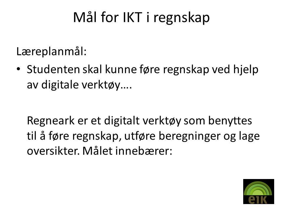Mål for IKT i regnskap Læreplanmål: • Studenten skal kunne føre regnskap ved hjelp av digitale verktøy….