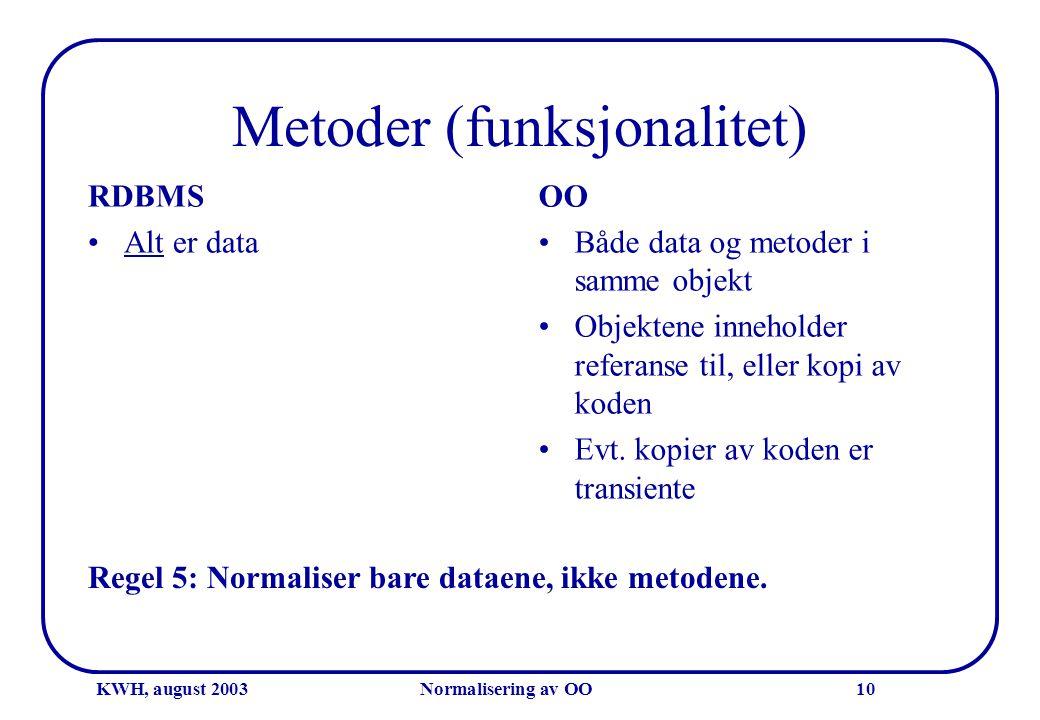 KWH, august 2003Normalisering av OO10 Metoder (funksjonalitet) RDBMS •Alt er data OO •Både data og metoder i samme objekt •Objektene inneholder refera