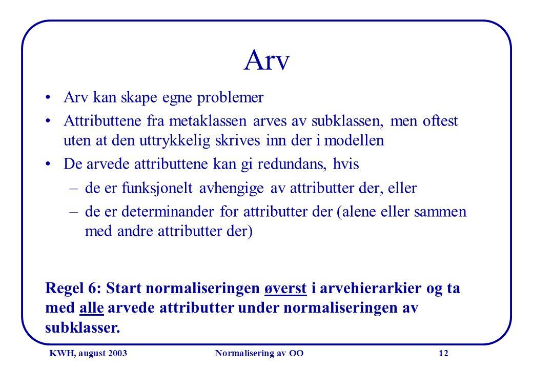 KWH, august 2003Normalisering av OO12 Arv •Arv kan skape egne problemer •Attributtene fra metaklassen arves av subklassen, men oftest uten at den uttr