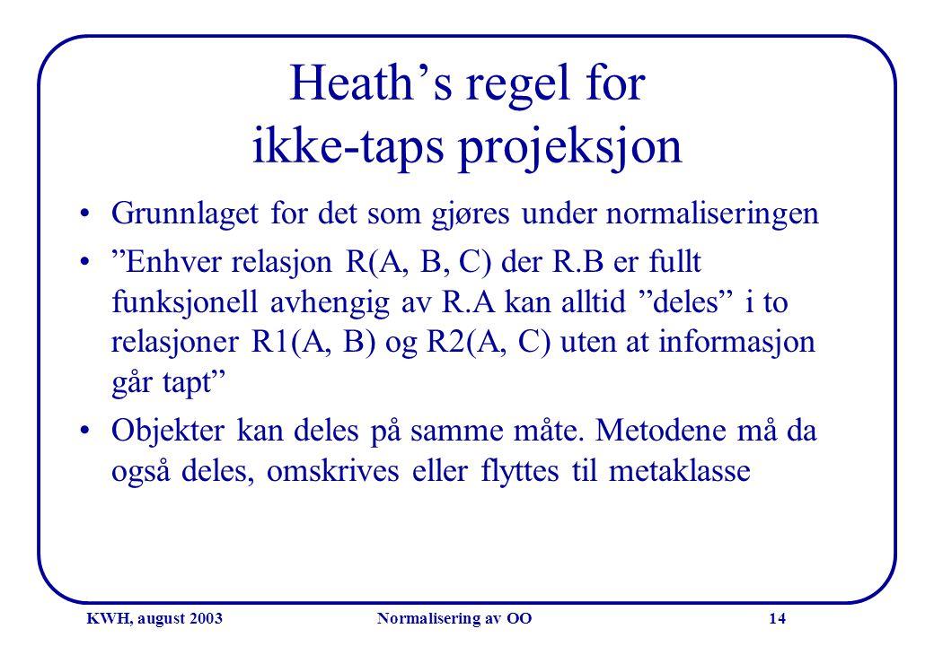 """KWH, august 2003Normalisering av OO14 Heath's regel for ikke-taps projeksjon •Grunnlaget for det som gjøres under normaliseringen •""""Enhver relasjon R("""
