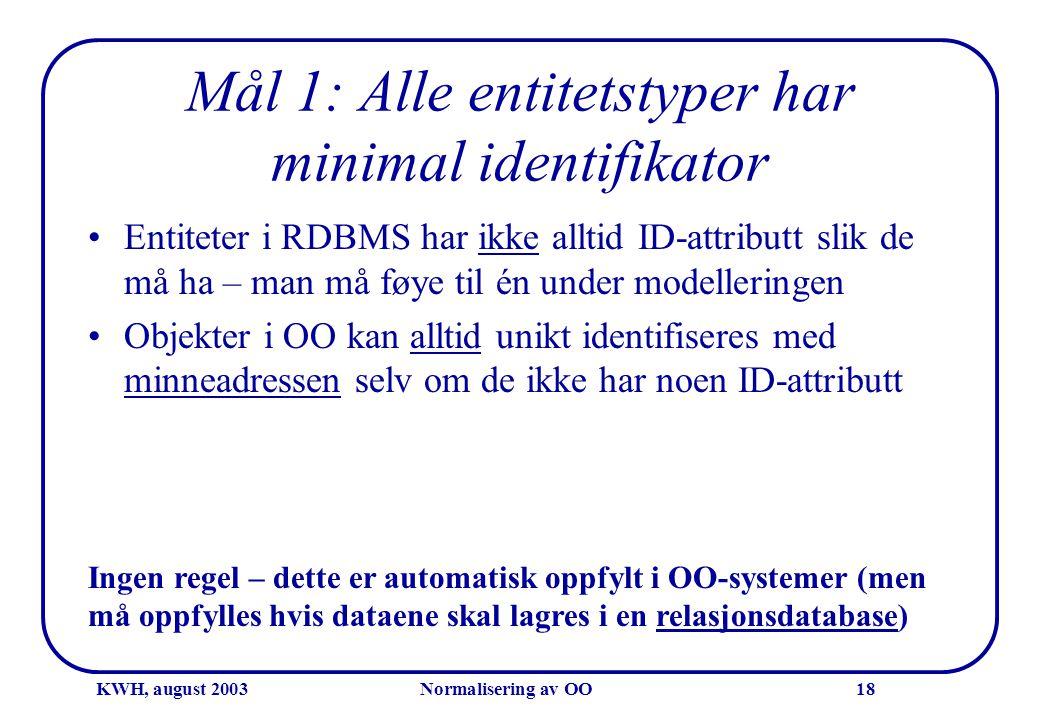 KWH, august 2003Normalisering av OO18 Mål 1: Alle entitetstyper har minimal identifikator •Entiteter i RDBMS har ikke alltid ID-attributt slik de må h