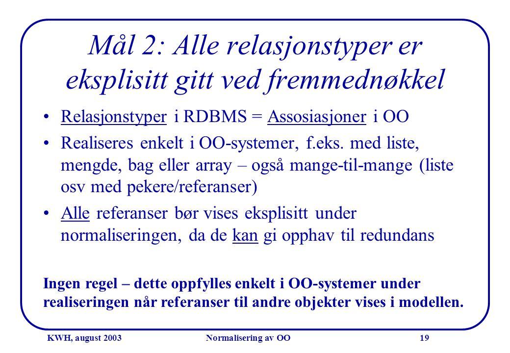 KWH, august 2003Normalisering av OO19 Mål 2: Alle relasjonstyper er eksplisitt gitt ved fremmednøkkel •Relasjonstyper i RDBMS = Assosiasjoner i OO •Re