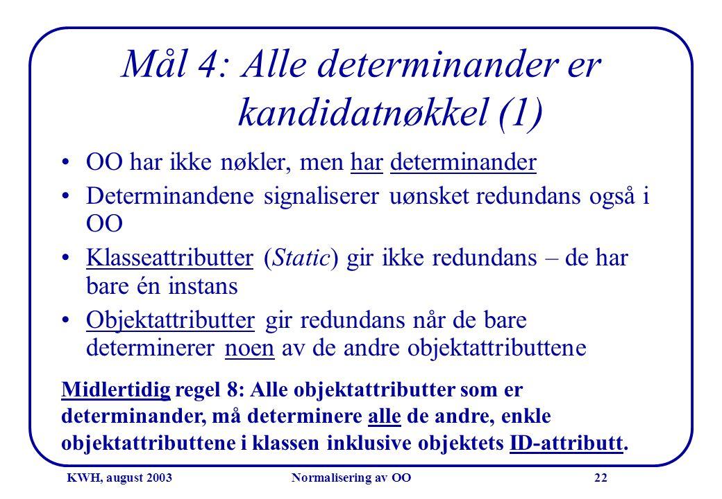 KWH, august 2003Normalisering av OO22 Mål 4: Alle determinander er kandidatnøkkel (1) •OO har ikke nøkler, men har determinander •Determinandene signa