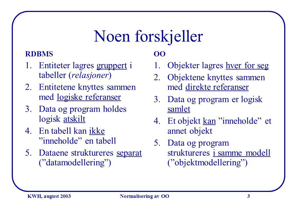 KWH, august 2003Normalisering av OO3 Noen forskjeller RDBMS 1.Entiteter lagres gruppert i tabeller (relasjoner) 2.Entitetene knyttes sammen med logisk