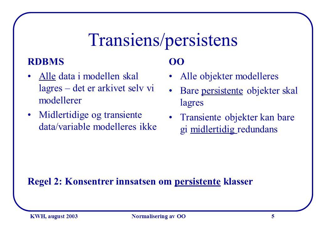 KWH, august 2003Normalisering av OO5 Transiens/persistens RDBMS •Alle data i modellen skal lagres – det er arkivet selv vi modellerer •Midlertidige og