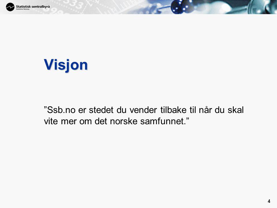 4 4 Visjon Ssb.no er stedet du vender tilbake til når du skal vite mer om det norske samfunnet.