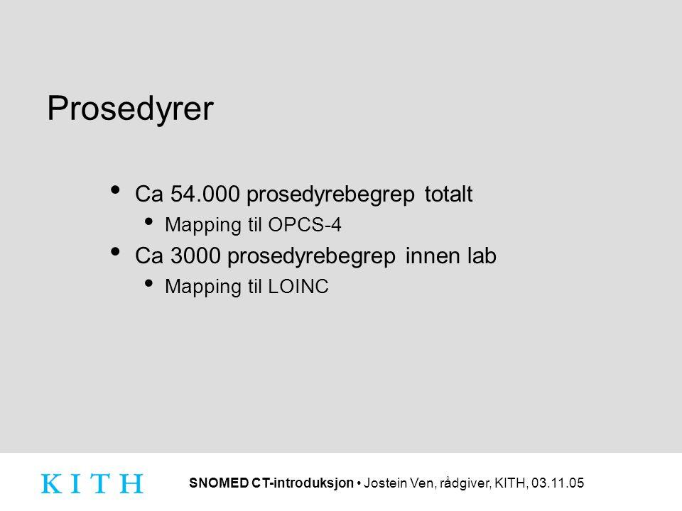 SNOMED CT-introduksjon • Jostein Ven, rådgiver, KITH, 03.11.05 Prosedyrer • Ca 54.000 prosedyrebegrep totalt • Mapping til OPCS-4 • Ca 3000 prosedyrebegrep innen lab • Mapping til LOINC