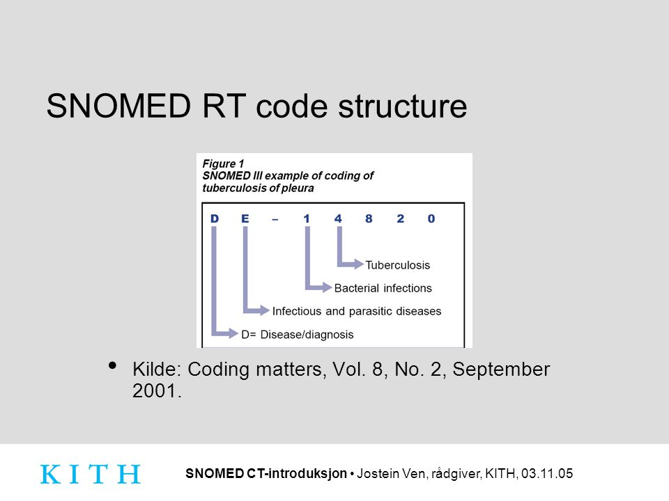 SNOMED CT-introduksjon • Jostein Ven, rådgiver, KITH, 03.11.05 SNOMED RT code structure • Kilde: Coding matters, Vol.