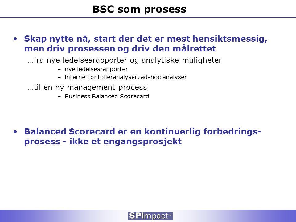 BSC som prosess •Skap nytte nå, start der det er mest hensiktsmessig, men driv prosessen og driv den målrettet …fra nye ledelsesrapporter og analytisk