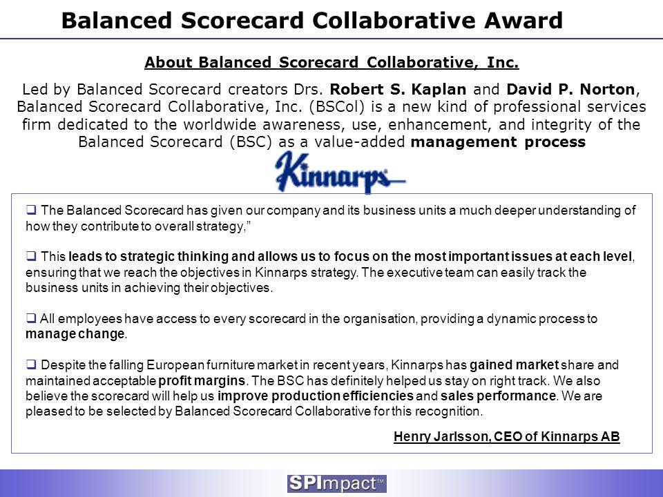 Balanced Scorecard Collaborative Award About Balanced Scorecard Collaborative, Inc. Led by Balanced Scorecard creators Drs. Robert S. Kaplan and David