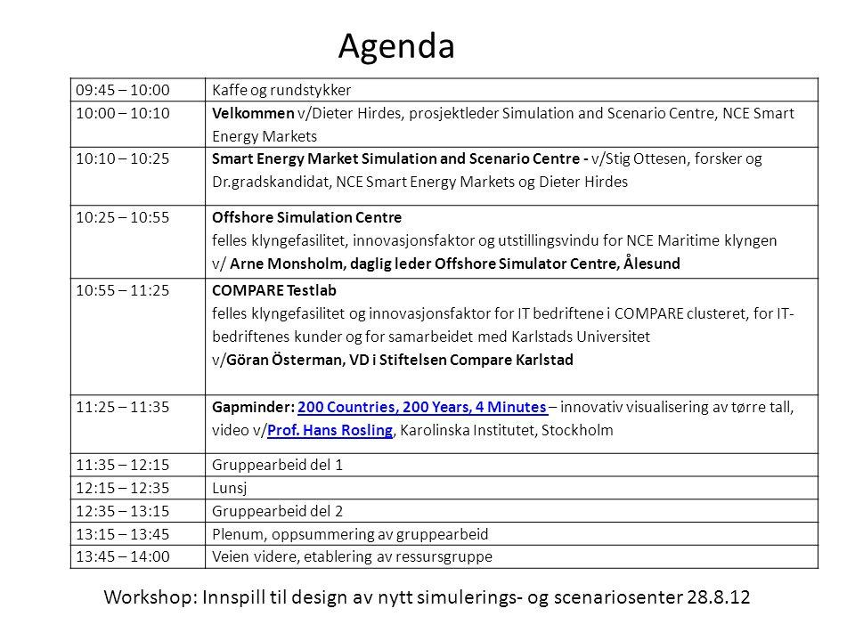 Workshop: Innspill til design av nytt simulerings- og scenariosenter 28.8.12 Agenda 09:45 – 10:00Kaffe og rundstykker 10:00 – 10:10 Velkommen v/Dieter Hirdes, prosjektleder Simulation and Scenario Centre, NCE Smart Energy Markets 10:10 – 10:25 Smart Energy Market Simulation and Scenario Centre - v/Stig Ottesen, forsker og Dr.gradskandidat, NCE Smart Energy Markets og Dieter Hirdes 10:25 – 10:55 Offshore Simulation Centre felles klyngefasilitet, innovasjonsfaktor og utstillingsvindu for NCE Maritime klyngen v/ Arne Monsholm, daglig leder Offshore Simulator Centre, Ålesund 10:55 – 11:25 COMPARE Testlab felles klyngefasilitet og innovasjonsfaktor for IT bedriftene i COMPARE clusteret, for IT- bedriftenes kunder og for samarbeidet med Karlstads Universitet v/Göran Österman, VD i Stiftelsen Compare Karlstad 11:25 – 11:35 Gapminder: 200 Countries, 200 Years, 4 Minutes – innovativ visualisering av tørre tall, video v/Prof.