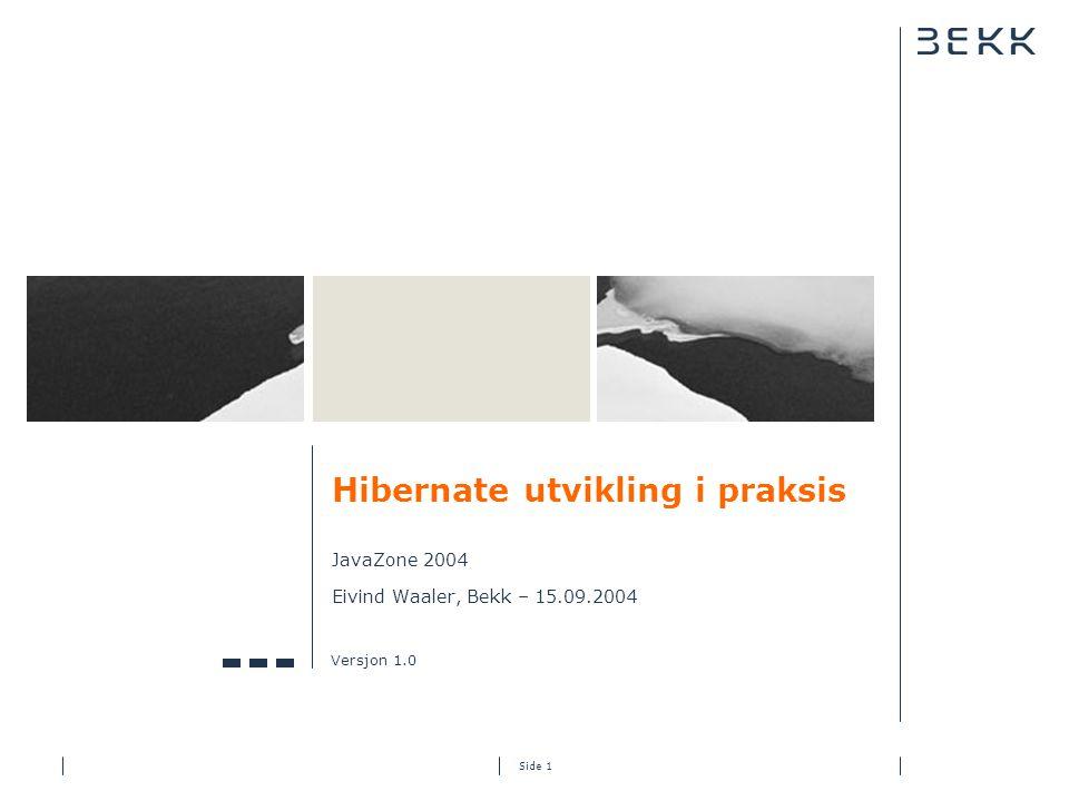 Side 1 Hibernate utvikling i praksis JavaZone 2004 Eivind Waaler, Bekk – 15.09.2004 Versjon 1.0