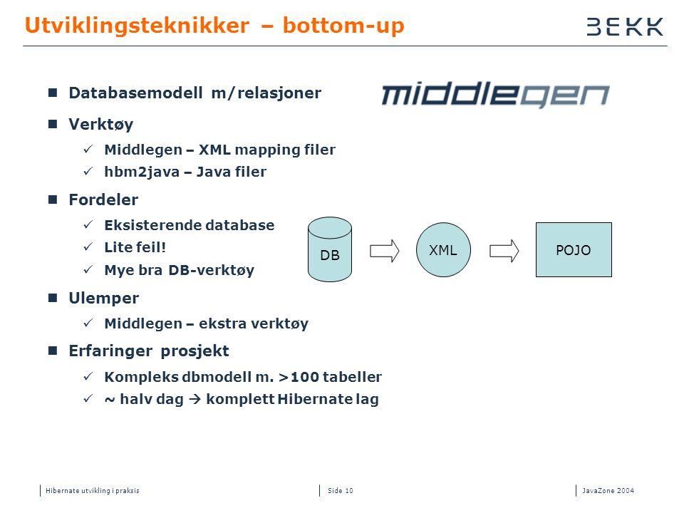 Hibernate utvikling i praksisJavaZone 2004 Side 10 Utviklingsteknikker – bottom-up  Databasemodell m/relasjoner  Verktøy  Middlegen – XML mapping f