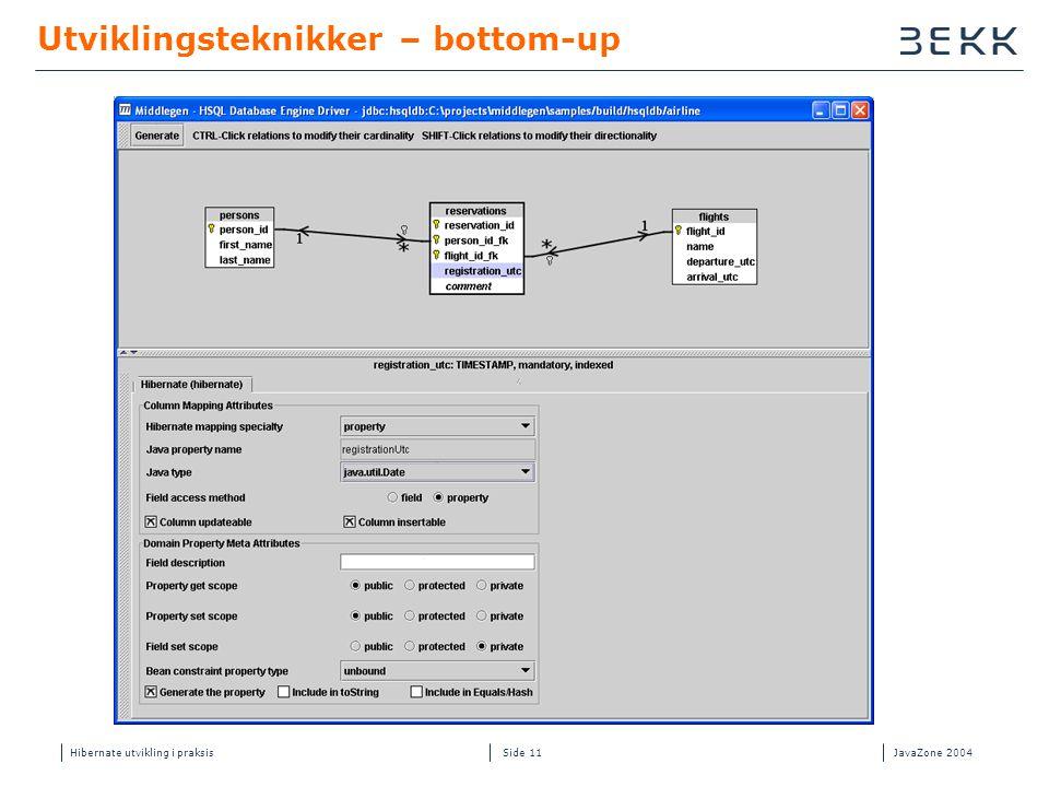 Hibernate utvikling i praksisJavaZone 2004 Side 11 Utviklingsteknikker – bottom-up