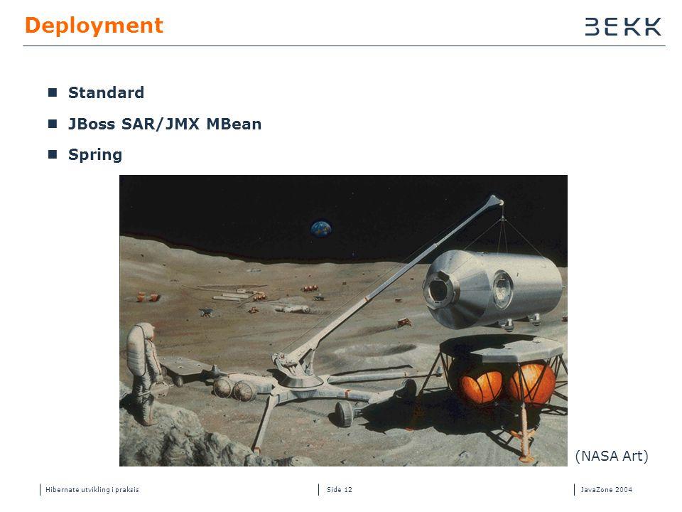 Hibernate utvikling i praksisJavaZone 2004 Side 12 Deployment  Standard  JBoss SAR/JMX MBean  Spring (NASA Art)