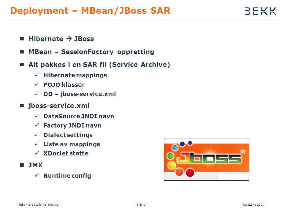 Hibernate utvikling i praksisJavaZone 2004 Side 14 Deployment – MBean/JBoss SAR  Hibernate  JBoss  MBean – SessionFactory oppretting  Alt pakkes i
