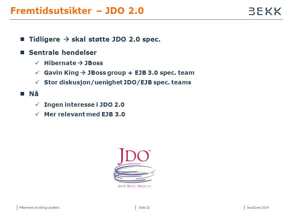 Hibernate utvikling i praksisJavaZone 2004 Side 22 Fremtidsutsikter – JDO 2.0  Tidligere  skal støtte JDO 2.0 spec.  Sentrale hendelser  Hibernate