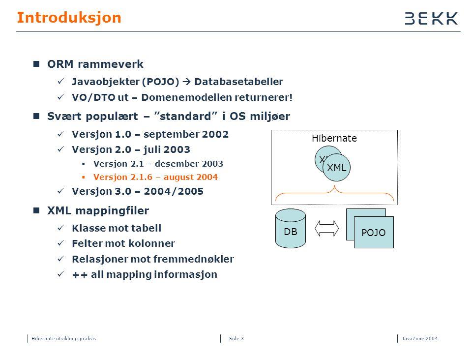 Hibernate utvikling i praksisJavaZone 2004 Side 3 Introduksjon  ORM rammeverk  Javaobjekter (POJO)  Databasetabeller  VO/DTO ut – Domenemodellen r
