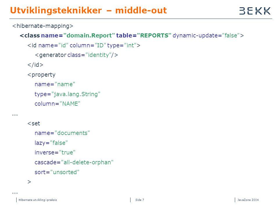Hibernate utvikling i praksisJavaZone 2004 Side 7 Utviklingsteknikker – middle-out <property name= name type= java.lang.String column= NAME ...
