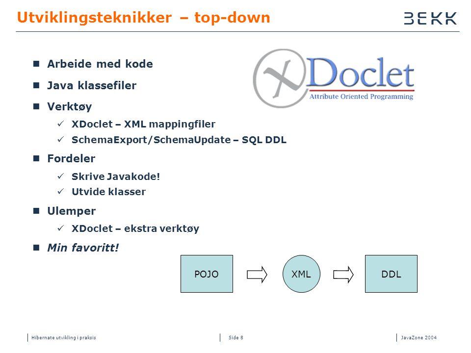 Hibernate utvikling i praksisJavaZone 2004 Side 8 Utviklingsteknikker – top-down  Arbeide med kode  Java klassefiler  Verktøy  XDoclet – XML mappingfiler  SchemaExport/SchemaUpdate – SQL DDL  Fordeler  Skrive Javakode.
