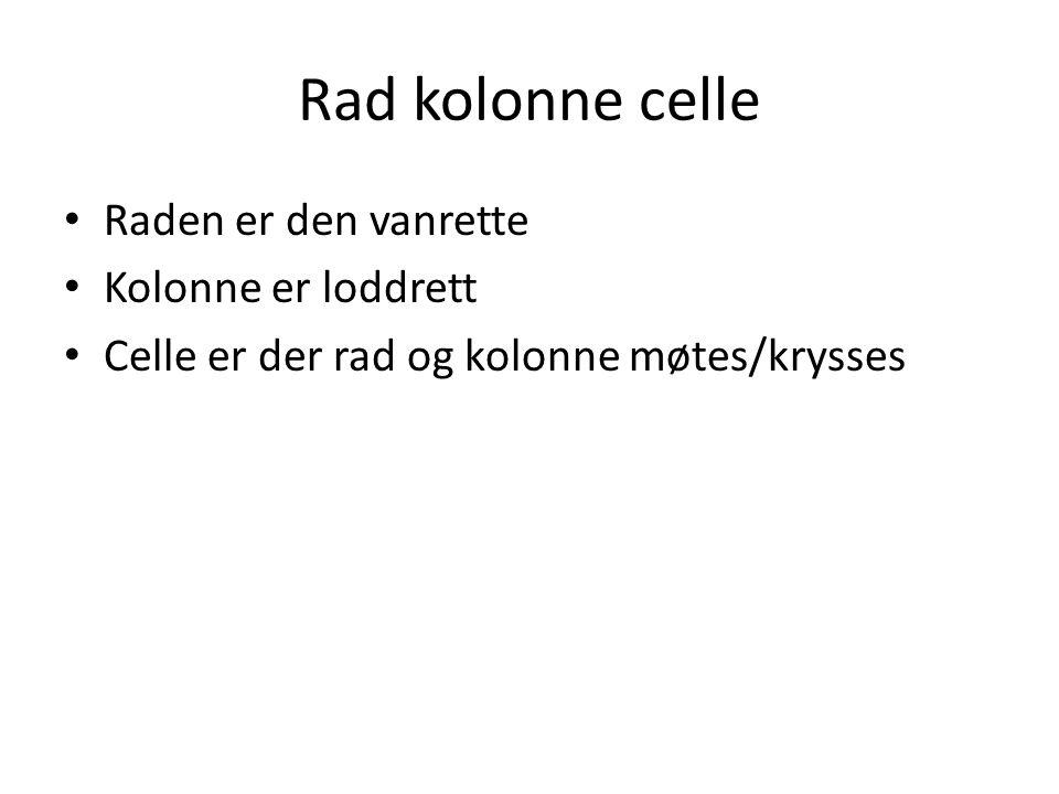 Rad kolonne celle • Raden er den vanrette • Kolonne er loddrett • Celle er der rad og kolonne møtes/krysses