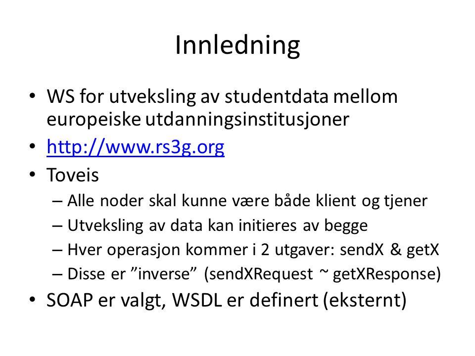 Innledning • WS for utveksling av studentdata mellom europeiske utdanningsinstitusjoner • http://www.rs3g.org http://www.rs3g.org • Toveis – Alle noder skal kunne være både klient og tjener – Utveksling av data kan initieres av begge – Hver operasjon kommer i 2 utgaver: sendX & getX – Disse er inverse (sendXRequest ~ getXResponse) • SOAP er valgt, WSDL er definert (eksternt)
