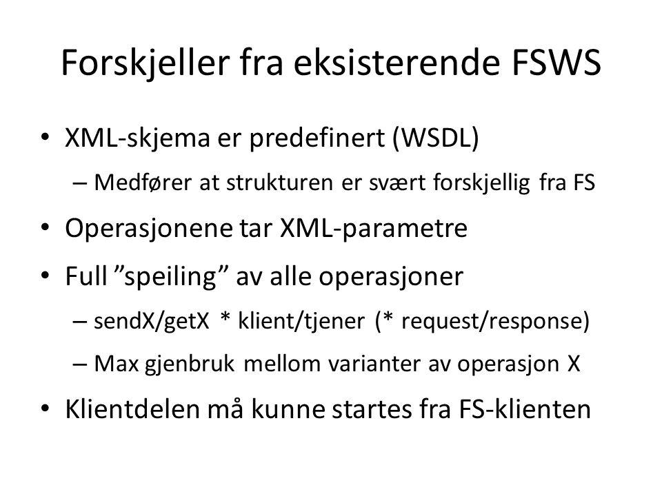 Forskjeller fra eksisterende FSWS • XML-skjema er predefinert (WSDL) – Medfører at strukturen er svært forskjellig fra FS • Operasjonene tar XML-parametre • Full speiling av alle operasjoner – sendX/getX * klient/tjener (* request/response) – Max gjenbruk mellom varianter av operasjon X • Klientdelen må kunne startes fra FS-klienten