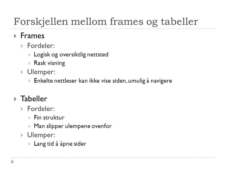 Forskjellen mellom frames og tabeller  Frames  Fordeler:  Logisk og oversiktlig nettsted  Rask visning  Ulemper:  Enkelte nettleser kan ikke vise siden, umulig å navigere  Tabeller  Fordeler:  Fin struktur  Man slipper ulempene ovenfor  Ulemper:  Lang tid å åpne sider