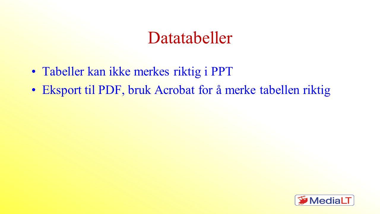 Datatabeller •Tabeller kan ikke merkes riktig i PPT •Eksport til PDF, bruk Acrobat for å merke tabellen riktig