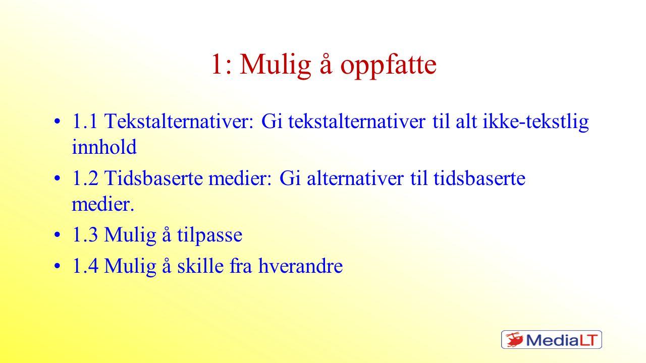 1: Mulig å oppfatte •1.1 Tekstalternativer: Gi tekstalternativer til alt ikke-tekstlig innhold •1.2 Tidsbaserte medier: Gi alternativer til tidsbasert