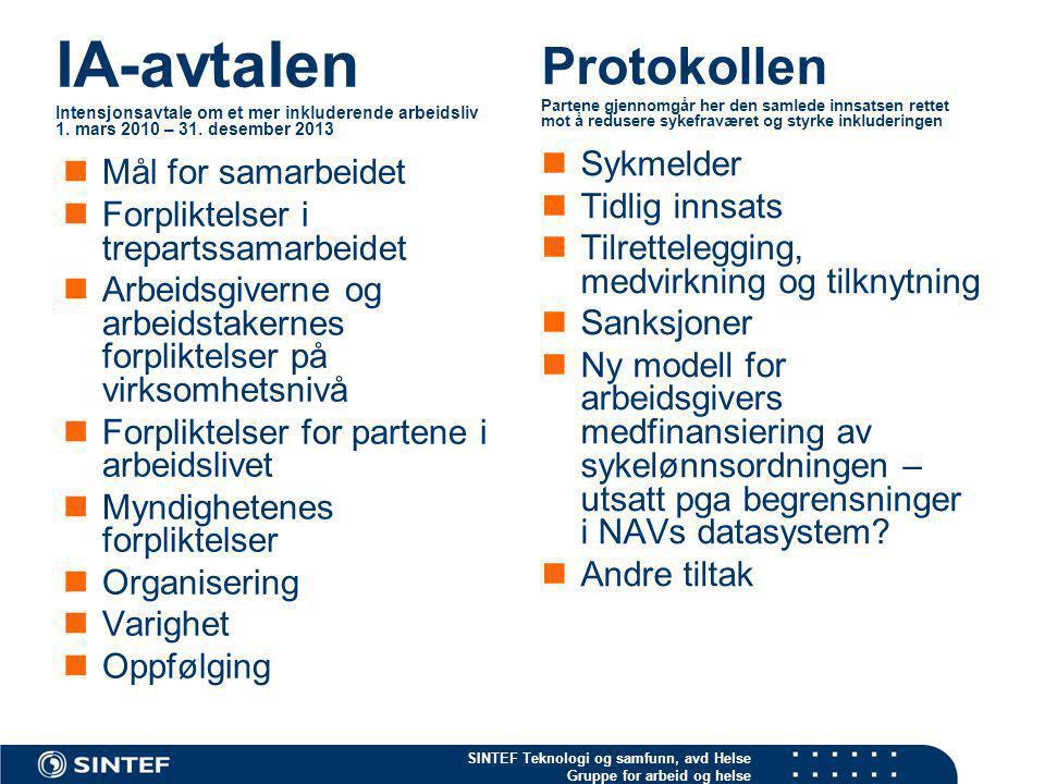 SINTEF Teknologi og samfunn, avd Helse Gruppe for arbeid og helse IA-avtalen Intensjonsavtale om et mer inkluderende arbeidsliv 1. mars 2010 – 31. des