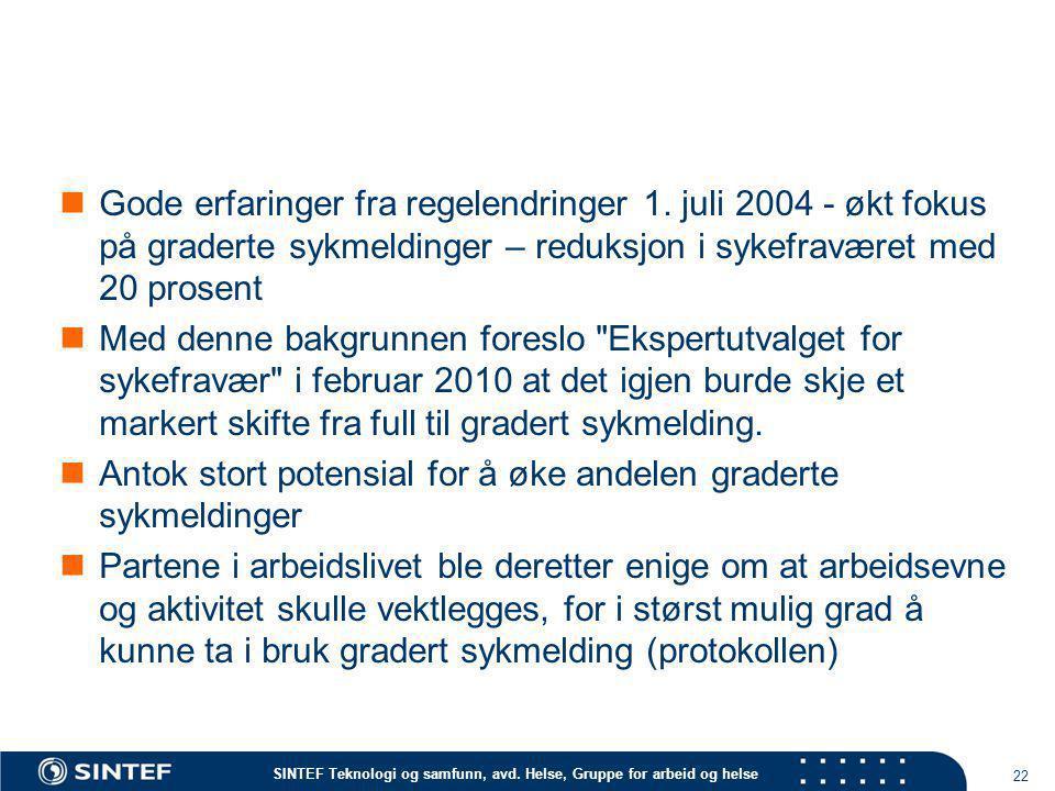 SINTEF Teknologi og samfunn, avd. Helse, Gruppe for arbeid og helse  Gode erfaringer fra regelendringer 1. juli 2004 - økt fokus på graderte sykmeldi