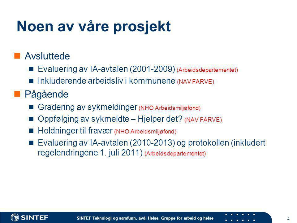 SINTEF Teknologi og samfunn, avd. Helse, Gruppe for arbeid og helse Noen av våre prosjekt  Avsluttede  Evaluering av IA-avtalen (2001-2009) (Arbeids
