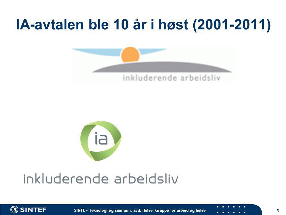 SINTEF Teknologi og samfunn, avd. Helse, Gruppe for arbeid og helse IA-avtalen ble 10 år i høst (2001-2011) 5